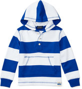 Ralph Lauren Striped Cotton Jersey Hooded Sweatshirt, Blue, Size 5-7
