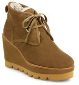See by Chloe Ethel Suede & Shearling Lace-Up Wedge Booties