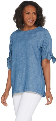 Martha Stewart Elbow-Sleeve Woven Blouse with Tie Detail
