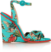 Paul Andrew Wisteria floral-print canvas wedge sandals