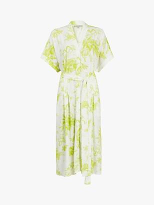 AllSaints Rosin Floral Print Shirt Dress, Chartreuse Yellow