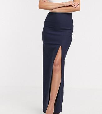 Vesper Tall thigh split maxi skirt two-piece in navy