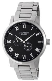 Heritor Automatic Romulus Silver & Black Stainless Steel Watches 44mm