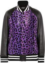 Junya Watanabe Leather-paneled Leopard-print Faux Fur Bomber Jacket
