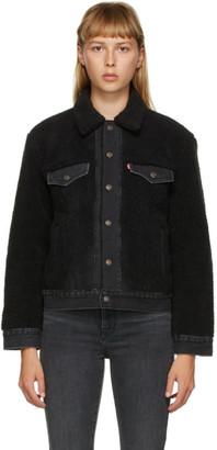 Levis Black Sherpa Ex-Boyfriend Trucker Jacket