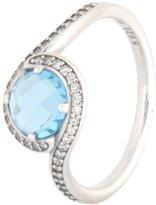 Pandora 190968NBS-50 Radiant Embellishment Sky-Blue Crystal & Clear CZ, size 5