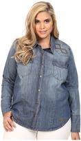 Stetson Plus Size 6 OZ Denim Long Sleeve Woven Blouse