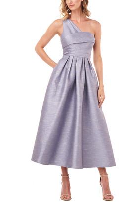 Kay Unger One-Shoulder Victoire Shantung Jacquard Midi Dress