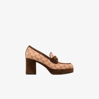 Gucci brown Horsebit 85 platform loafers
