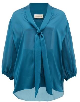 Alexandre Vauthier Knotted Silk Blouse - Blue