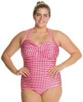 Esther Williams Plus Gingham Classic Sheath One Piece Swimsuit 8119424