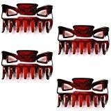 "Luxxii - (4 Pack) Vintage Mini Light Weight Plastic Hair Jaw Claw Clip 2.25""L (B)"