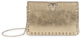 Valentino Rockstud Metallic Leather Clutch