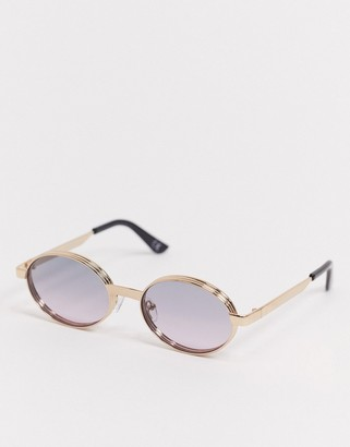 ASOS DESIGN festival oval sunglasses in gold metal with capping and purple grad lens