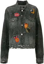 Amiri badge patch distressed denim jacket