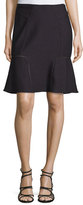Yigal Azrouel Flounce-Hem Textured Skirt, Midnight/Multi