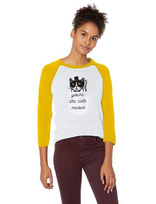 Skechers Women's Bobs for Dogs and Cats 3/4 Length Graphic Baseball T-Shirt