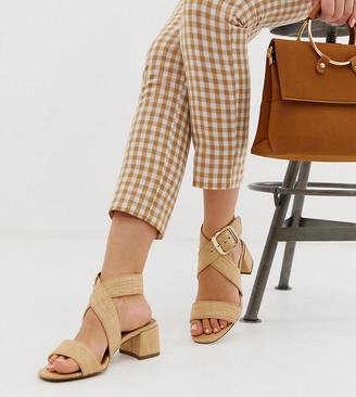 Asos Design DESIGN Wide Fit Hip Hop block heeled sandals in natural-Beige