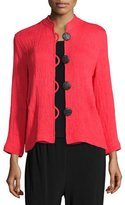 Caroline Rose Mini-Pleated Mandarin-Collar Jacket, Petite
