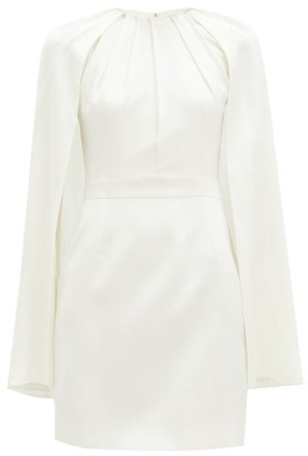 Alexander McQueen Cape-overlay Silk-satin Mini Dress - Ivory