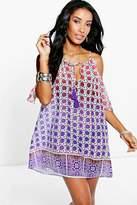 boohoo Aimee Ombre Tile Print Cold Shoulder Sun Dress purple