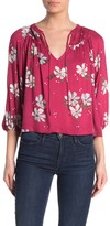 Love Stitch Floral 3/4 Sleeve Peasant Blouse