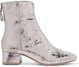 Alexandre Birman Jessie Metallic Python Ankle Boots - Silver