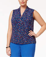 Anne Klein Plus Size Printed Ruffled V-Neck Top