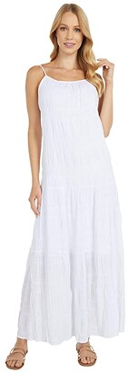 BB Dakota Roman Holiday Puckered Cotton Voile Tent Dress (Optic White) Women's Dress