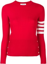Thom Browne Classic crew neck Pullover Cashmere with 4-Bar Sleeve Stripe