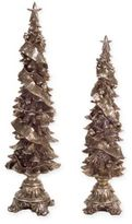 Trees with Christmas Ribbon Figurines in Silver (Set of 2)