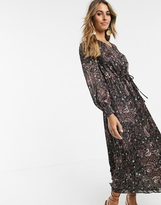 And other stories & wrap front maxi dress in paisley print-Multi