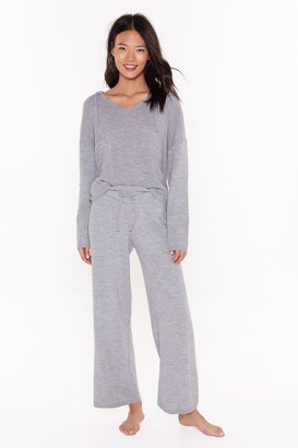 Nasty Gal Womens By Your Side Hoodie and Wide-Leg Trousers Lounge Set - grey - L