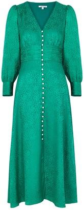 Olivia Rubin Valentina Green Jacquard Silk Midi Dress
