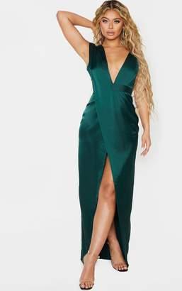 PrettyLittleThing Emerald Green Asymmetric Drape Detail Maxi Dress