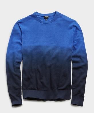 Todd Snyder Dip Dye Textured Cotton Crew Sweater in Navy