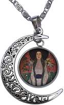 GiftJewelryShop Portrait Of Adele Bloch Bauer Crescent Moon Galactic Universe Glass Cabochon Pendant Necklace