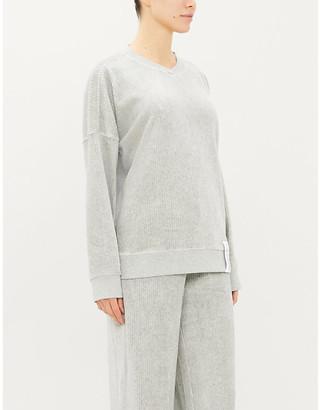 Calvin Klein Relaxed-fit ribbed velvet sweatshirt