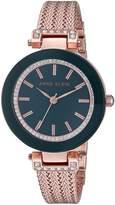 Anne Klein Women's AK/1906NVRG Swarovski Crystal Accented Rose Gold-Tone Mesh Bracelet Watch