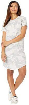 Lucky Brand Cloud Jersey Tee Dress (White Camo) Women's Dress