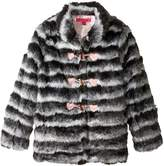 Betsey Johnson Big Girls' Shaggy Two Tone Faux Fur Jacket, Multi