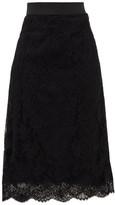 Dolce & Gabbana High-rise Cotton-blend Lace Midi Skirt - Womens - Black