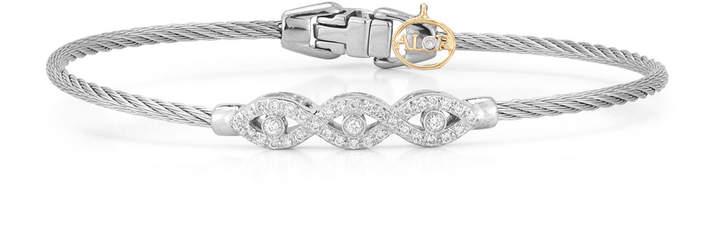 Alor 18k Gold Triple Diamond Cable Bangle