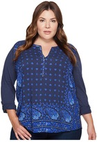 Lucky Brand Plus Size Printed Henley Top Women's Long Sleeve Pullover