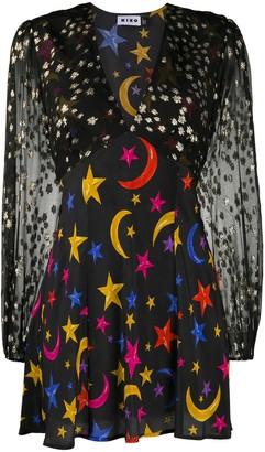 Rixo Mixed-Print Mini Dress