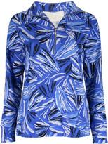 Pappagallo Women's Polo Shirts MARINE - Marine Blue Abstract Jada Half-Zip Pullover - Women