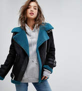 boohoo Aviator Jacket With Faux Fur Lining
