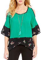 Takara Cold-Shoulder Printed Hem Top