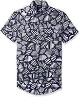 Armani Jeans Men's Slim Fit allover Short Sleeve Button Down Shirt