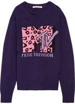 Marc Jacobs Oversized Distressed Intarsia Wool And Cashmere-blend Sweater - Purple
